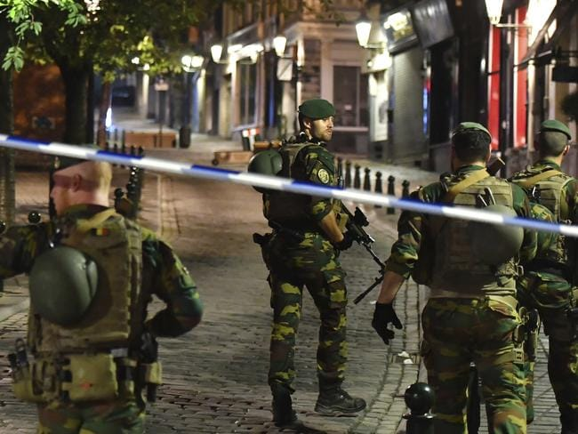 Belgian Army soldiers patrol near Central Station. Picture: AP