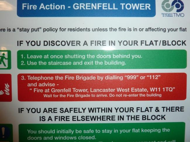 Grenfell Tower advised residents to stay inside their homes in the case of a fire. Picture: Residents Action Group