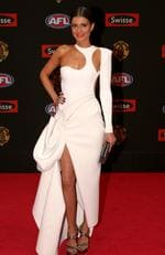 Jordan Papalia partner of Gary Ablett of Gold Coast arrive on the red carpet for the 2015 AFL Brownlow Medal presentation held at Crown Casino on Monday, September 28, 2015, in Melbourne, Victoria, Australia. Picture: Tim Carrafa