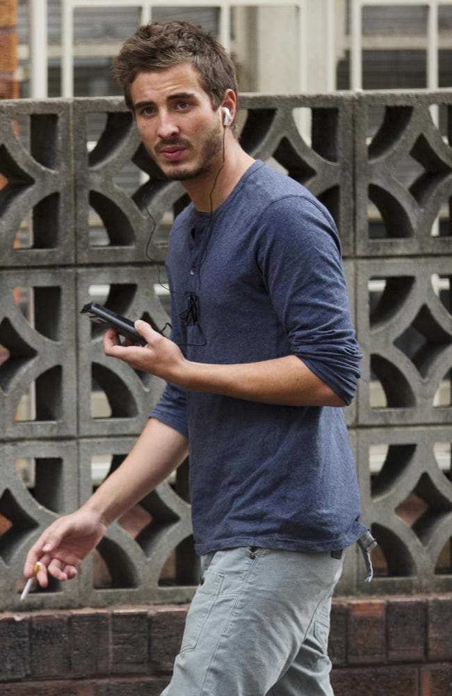 Corr seen on the street in Sydney while talking on the phone. Picture: Diimex