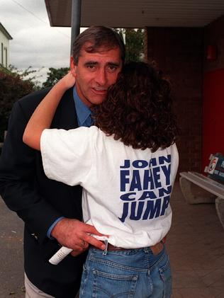 Then NSW Premier John Fahey with daughter Tiffany on his way to vote in 1995.