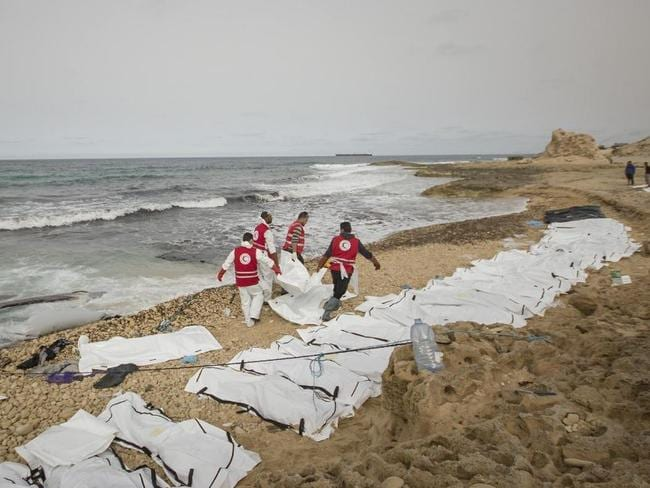 The circumstances surrounding the drownings are not clear. Picture: Libya Red Crescent/ Twitter