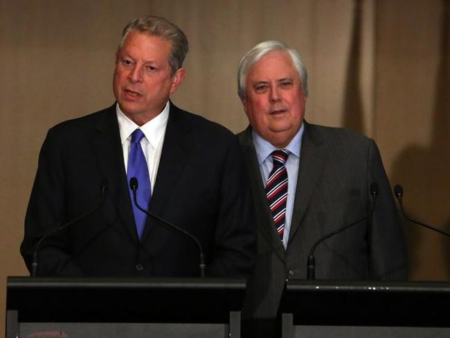 Strange bedfellows ... Clive Palmer and former United States vice-president Al Gore at their press conference at Parliament House in Canberra.