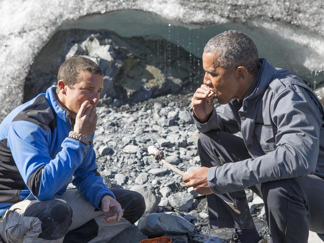 Delicacies ... Bear Grylls and President Barack Obama ate wild salmon picked over by a bear. Picture: Discovery Network