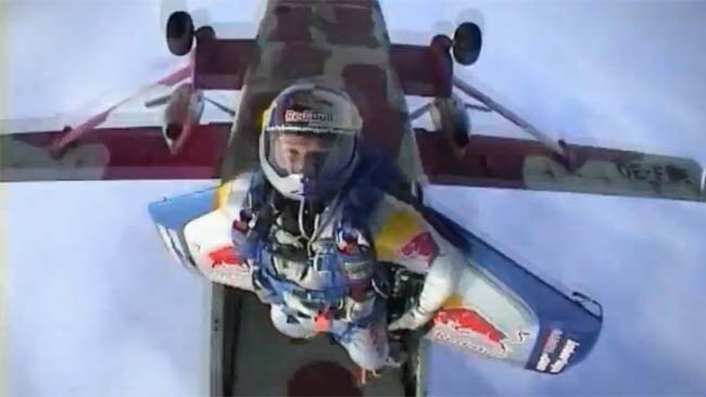Freefalling: Baumgartner glided across the English Channel in 2003 underneath a carbon fibre wing. Picture: YouTube