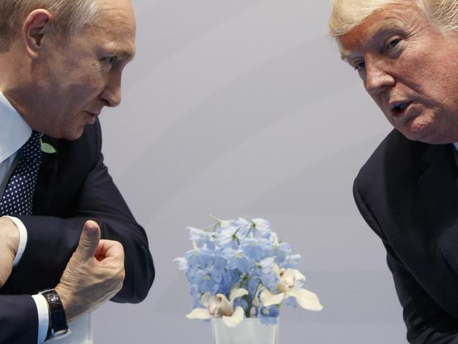 President Donald Trump, right, meets with Russian President Vladimir Putin at the G20 Summit. Picture: AP