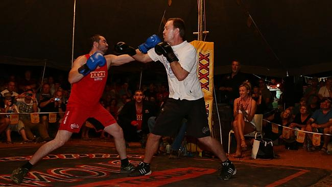 Jeremy Pierce in the ring with the Enforcer. Picture: Adam Head
