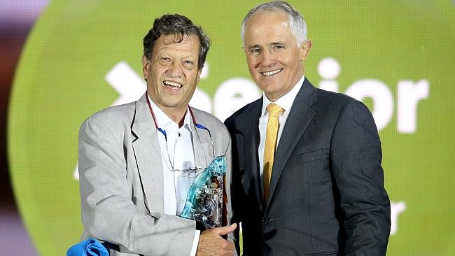 Senior Australian of the Year Professor Gordian Fulde with PM Malcolm Turnbull at an awards ceremony at Parliament House in Canberra. Picture: Gary Ramage