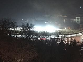 A view of Besiktas football club stadium, following at attack in Istanbul, late Saturday, Dec. 10, 2016. Two loud explosions have been heard near the newly built soccer stadium and witnesses at the scene said gunfire could be heard in what appeared to have been an armed attack on police. (AP Photo) TURKEY OUT