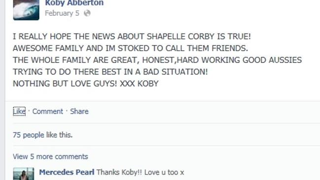 Facebook friends ... Koby Abberton and Mercedes Corby on Abberton's Facebook page.