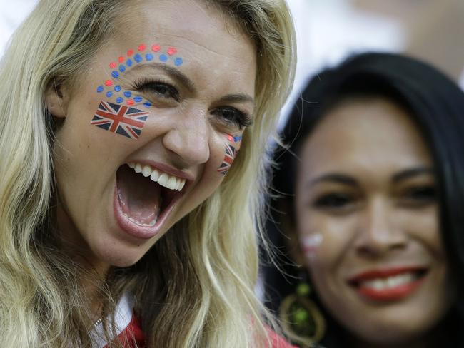 England supporters react during the group D World Cup clash against Italy.
