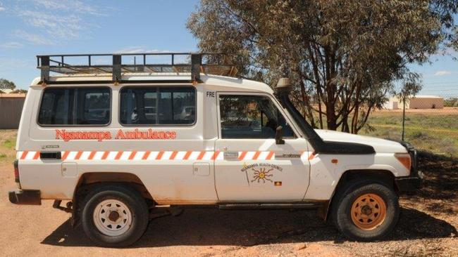 The ambulance which police Gayle Woodford was driven in from her Fregon home. Source: SA Police