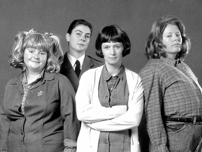 Magda Szubanski with Marg Downey, Jane Turner and Gina Riley in a scene from Fast Forward in 1994.