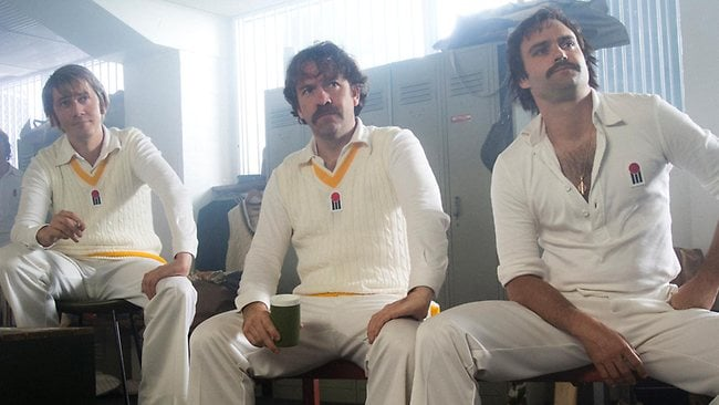 Doug Walters (Hamish Michael), Rodney Marsh (Brendan Cowell) and Dennis Lillee (Matthew Le Nevez). Picture: Channel 9