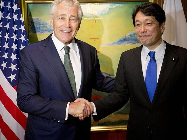 Allies... Hagel, left, with Japanese Defense Minister Itsunori Onodera. Picture: Pablo Ma
