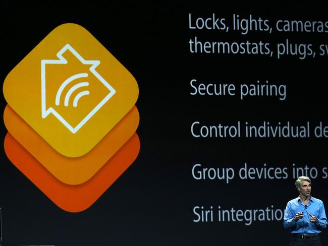 Remote living ... Apple Senior Vice President of Software Engineering Craig Federighi introduces HomeKit.