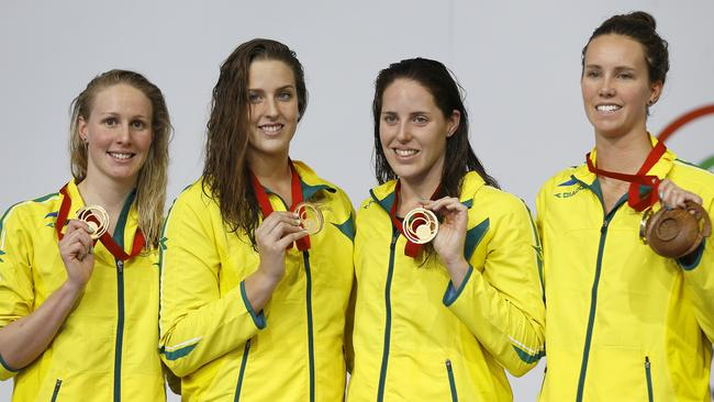 Gold medallists Emma McKeon, Alicia Coutts, Brittany Elmslie and Bronte Barratt.