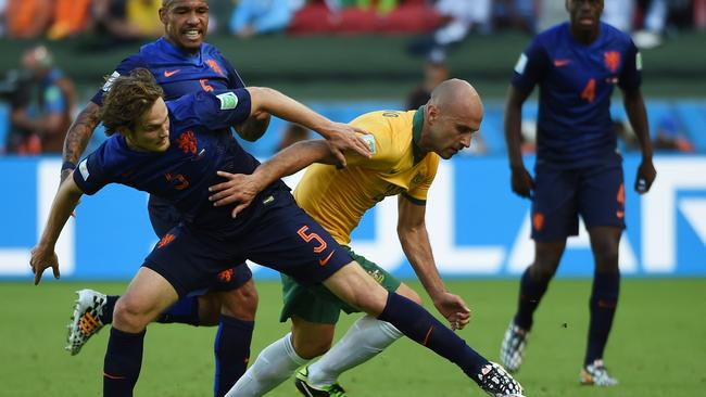 Mark Bresciano caused the Dutch defence plenty of problems.