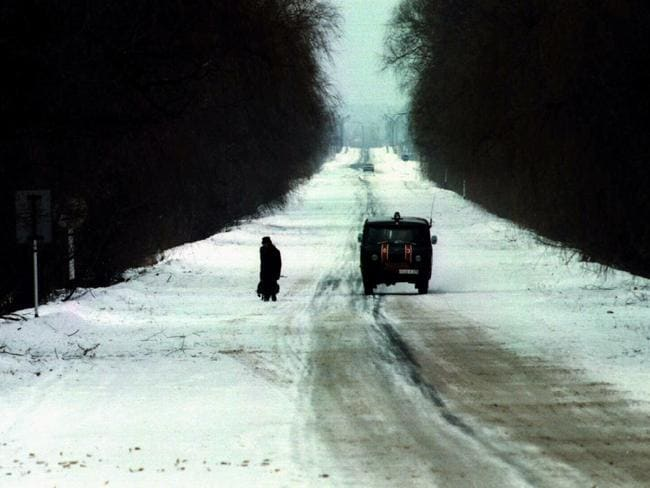Inside the forbidden zone, a road to Chernobyl in 1996. Picture: Supplied