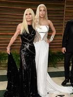 Designer Donatella Versace and Musician Lady Gaga attends the 2014 Vanity Fair Oscar Party. Picture: Getty