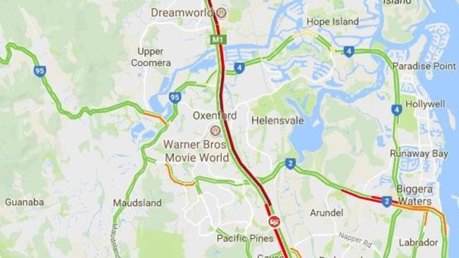 Traffic on the Pacific Motorway at 4.30pm. Source: Google Maps