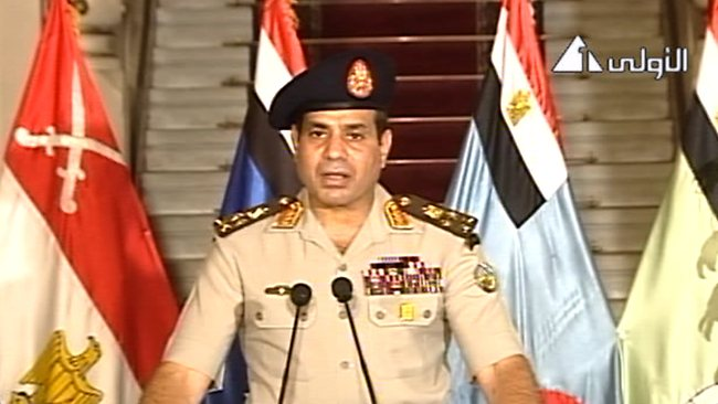 Defence Minister Lieutenant General Abdel-Fattah el-Sissi addressing the nation on Egyptian State Television Wednesday, July 3, 2013. Picture: AP Photo/Egyptian State Television