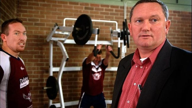 Sports scientist Steve Dank with the NRL's Manly Sea Eagles at training.