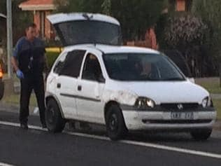 A Holden Barina involved in a dramatic police chase through Melbourne's southeastern suburbs. Picture: Katherine Firkin Twitter
