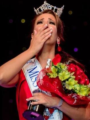Tears of joy ... Amanda Longacre is crowned Miss Delaware. Picture: MissDE2014