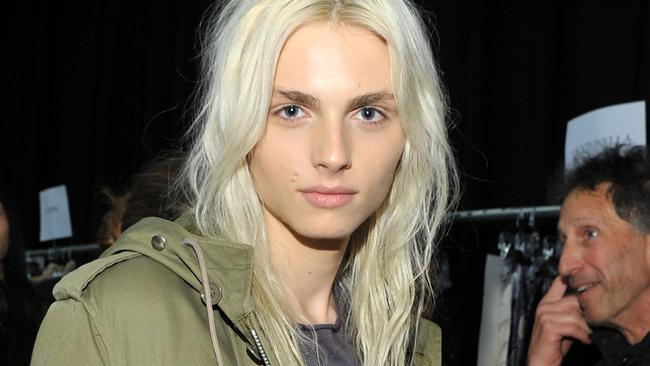 Andrej Pejic poses backstage at the Custo Barcelona Fall 2011 fashion show during Mercedes-Benz Fashion Week in 2011 before the surgery.