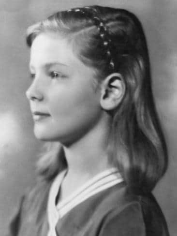 Actress Lauren Bacall pictured as a young child, aged ten, in her first professional portrait, taken by photographer John Robert Powers, USA, circa 1934. Picture: Getty