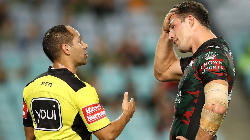 Referee Ashley Klein speaks to Sam Burgess.