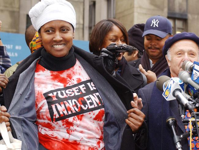 Support network ... Sharonne Salaam (left), mother of Yusef Salaam, outside New York's Criminal Court in New York in 2002. Picture: Supplied