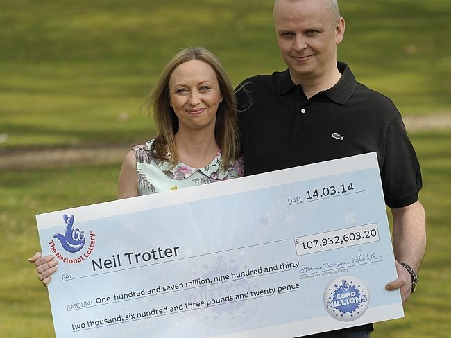 Big win ... Neil Trotter (R) and Nicky Ottaway (L) celebrate their 107.9 million-pound jackpot win in the EuroMillions draw.