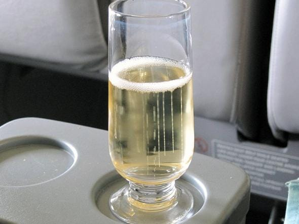 Airline Business class champagne on flight