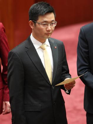 Senator Zhenya Dio Wang is sworn in. Picture: Gary Ramage