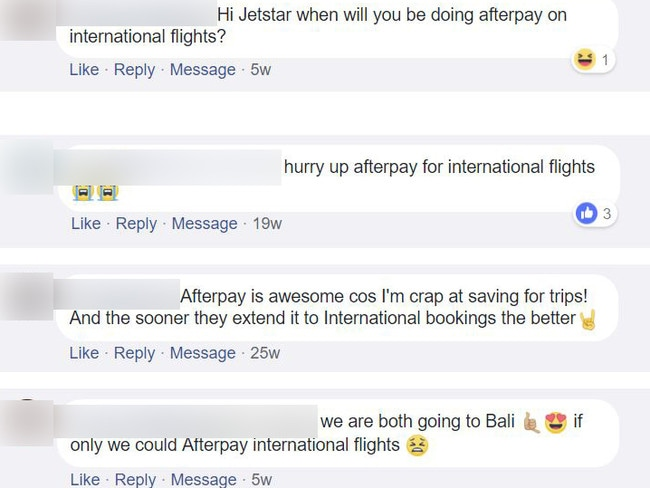 Jetstar's customers have been waiting for the Afterpay option to be rolled out to international flights.