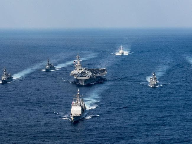 "North Korea said America's decision to send a Navy strike group to Korean waters is ""reckless"". Picture: US Navy"