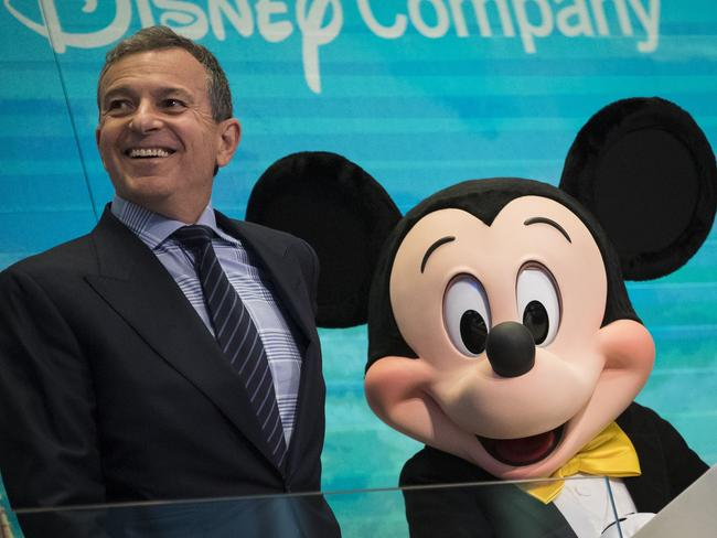 Walt Disney Company CEO Bob Iger with the mouse himself. Picture: Drew Angerer/Getty Images