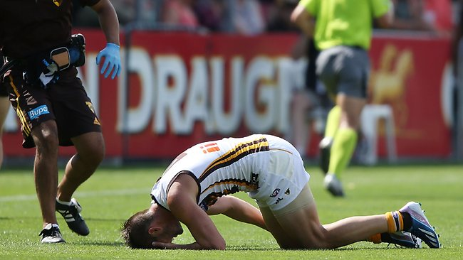 Matthew Suckling injured his knee in this contest during today's NAB Cup match against Richmond. Picture: Getty