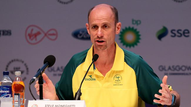 Australia's chef de mission Steve Moneghetti announces the sanctions.