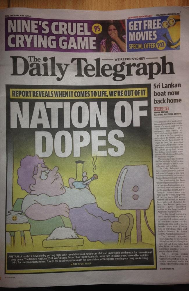 How  <i>The Daily Telegraph</i> presented the damning World Drug Report on its front page today.