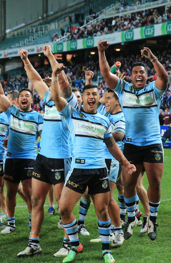 The Cronulla Sharks celebrate their win. Picture: Mark Evans
