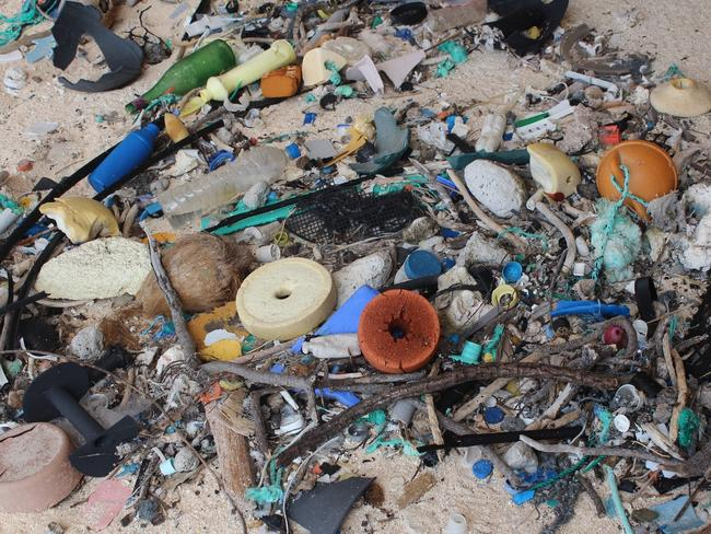 A pile of rubbish dumped on Henderson Island. Picture: Supplied/Jennifer Lavers