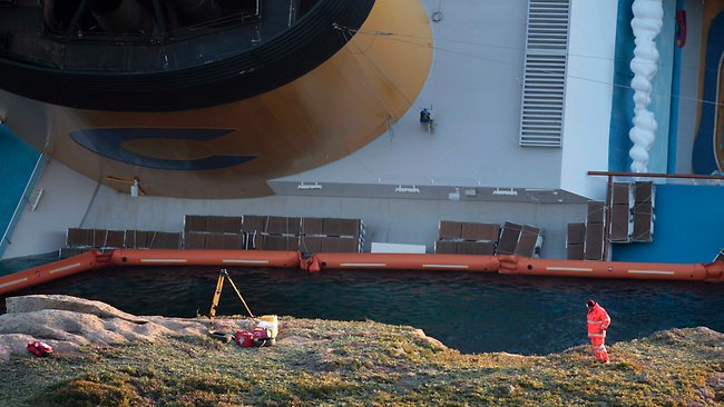 The Costa Concordia lies stricken off the Tuscany coast. There are still 24 people missing. Picture: AP