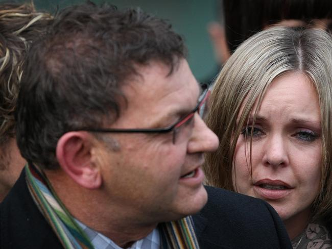 Bryan Guy and daughter Anna after the verdict when Anna's then husband was found not guilty of murdering her brother Scott. Picture: New Zealand Herald
