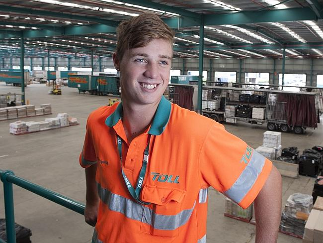 """Work experience is really important"" ... Kurt Berry, 17, is employed at Toll Group for the past six months."