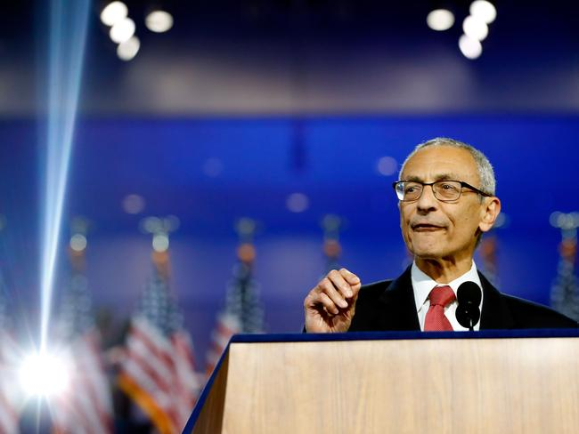 Hillary Clinton's former campaign chairman John Podesta was targeted by hackers, adversely affecting Clinton's chances in the 2016 US election. Picture: Aaron P. Bernstein/Getty Images/AFP