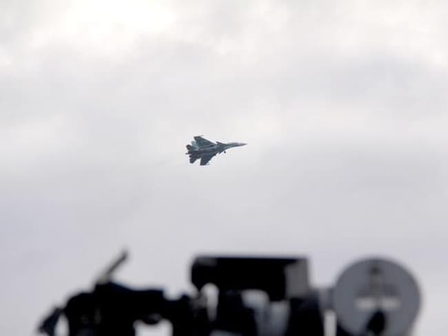 An Su-33 from Admiral Kuznetsov is pictured from a Norwegian navy frigate. Picture: Norwegian Armed Forces