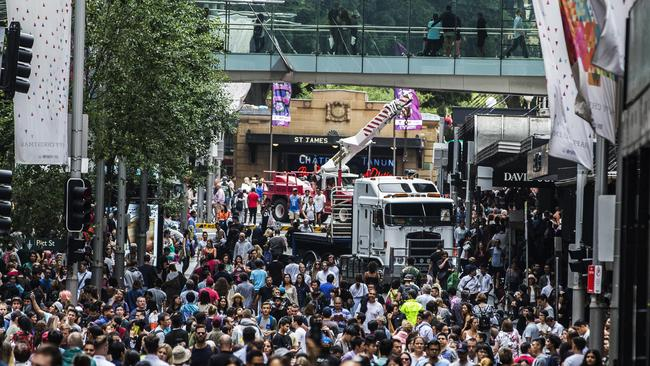 A truck is parked in Sydney's CBD during the Boxing day sales. Picture: Jenny Evans